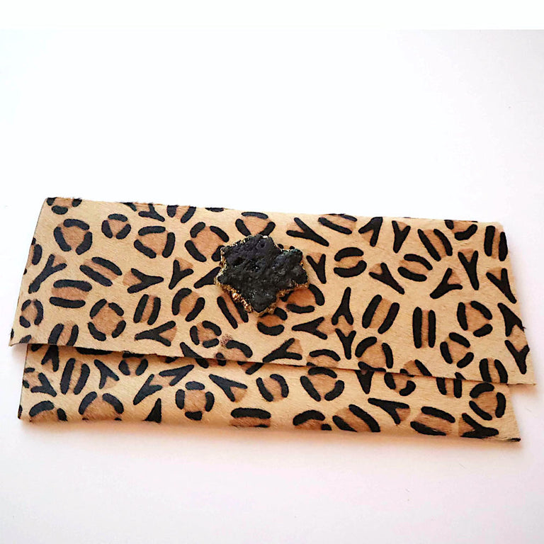 Cheetah Clutch Calfskin Black
