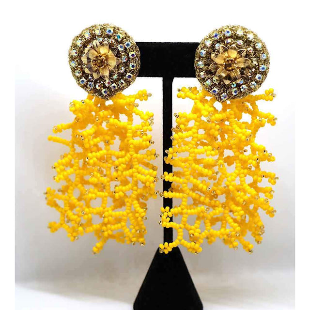 Coral Drop Earrings Yellow