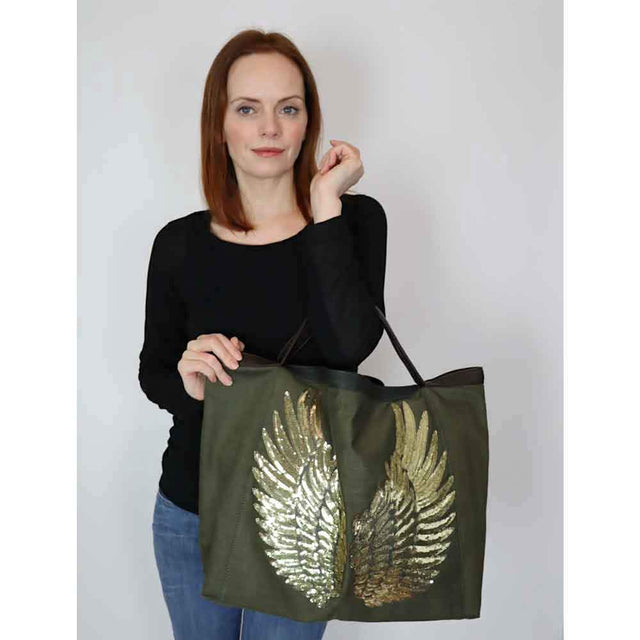 "Olive Green TOTE Bag ""Angel Gold Wings"""