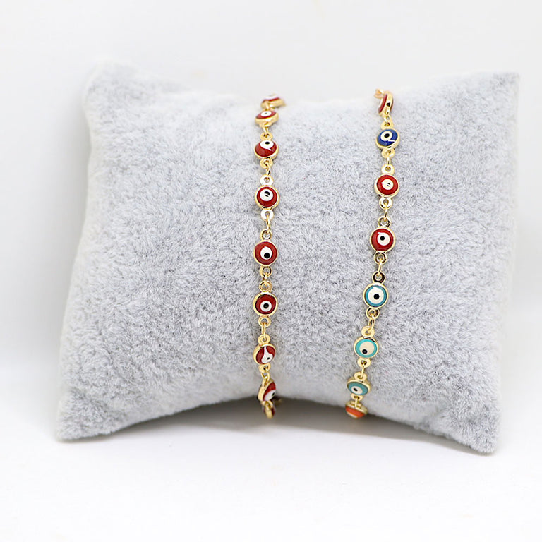 Gold Red Evil Eye Bracelet