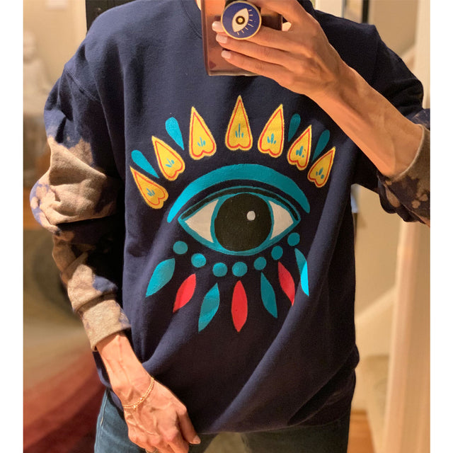 Oversized Sweater Evil Eye Tie Dye Navy