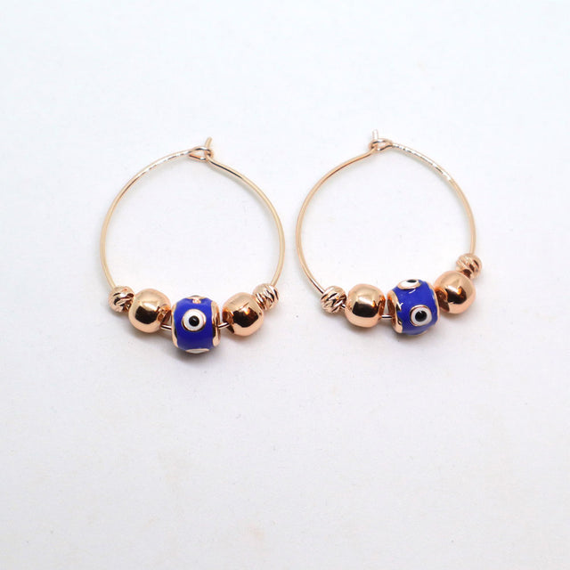 Evil Eye Rose Gold Hoop Earrings
