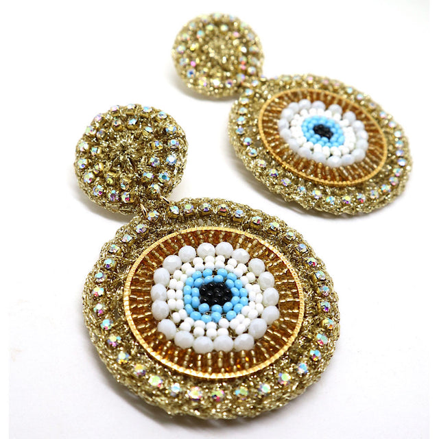 Evil Eye Gold-Brown Earrings