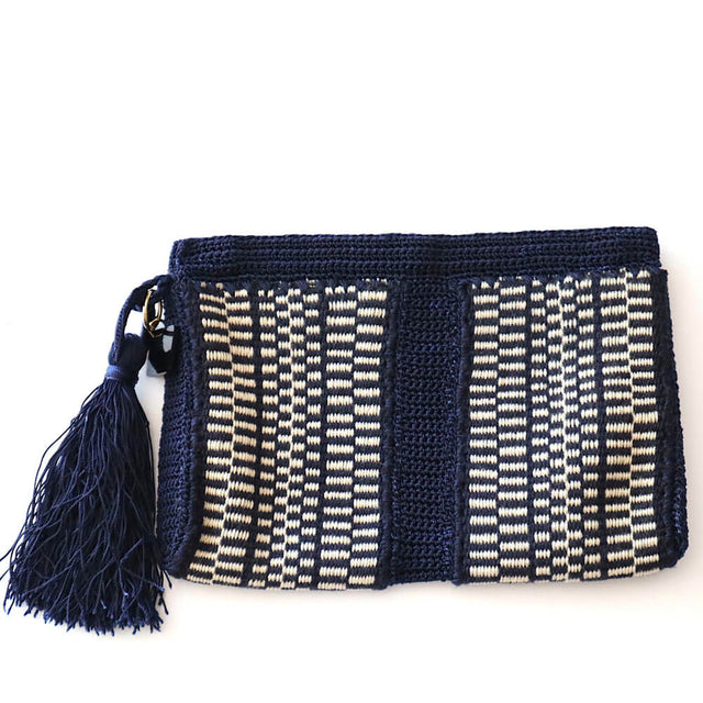Flat Crochet Clutch- Navy- Beige