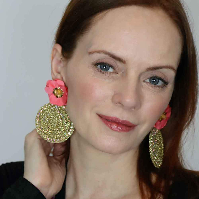 Gold Round Coral Flower Earrings-Sale