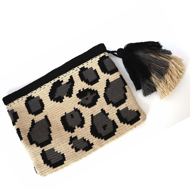 Leopard Print Clutch Bag Grey