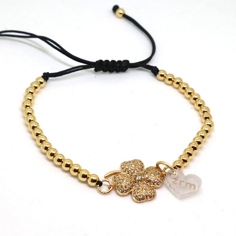 Adjustable Gold Clover Bracelet