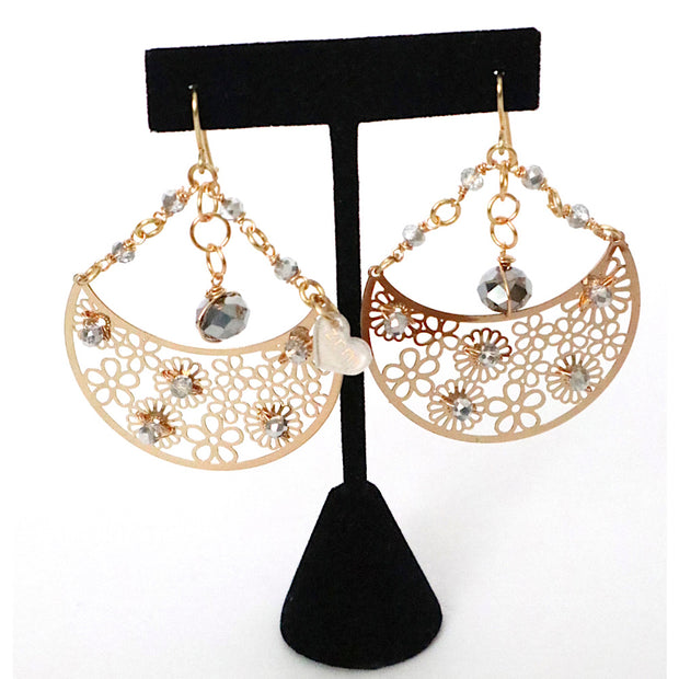 Gold Plated Grey Drop Earrings