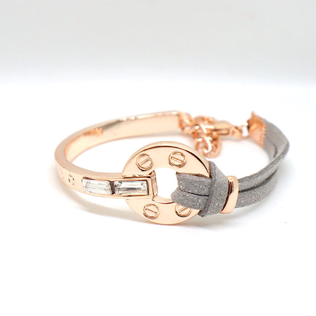 Grey Leather Rose Gold Bracelet
