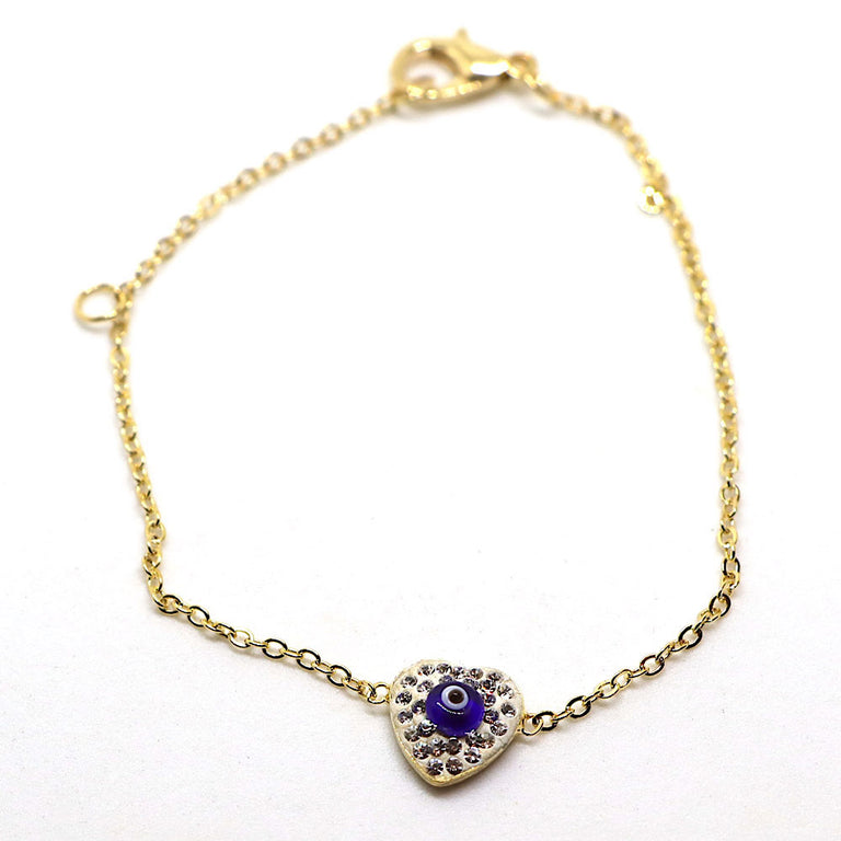 Gold Heart Evil Eye Bracelet