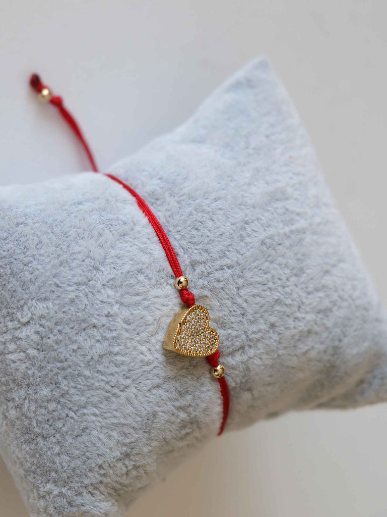 Bracelet Heart Gold Red Adjustable