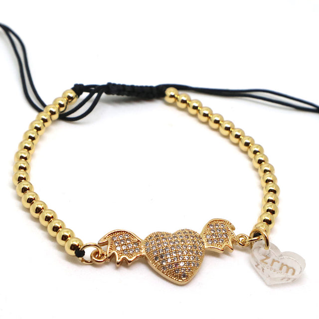 Bracelet Heart Wings Adjustable Gold