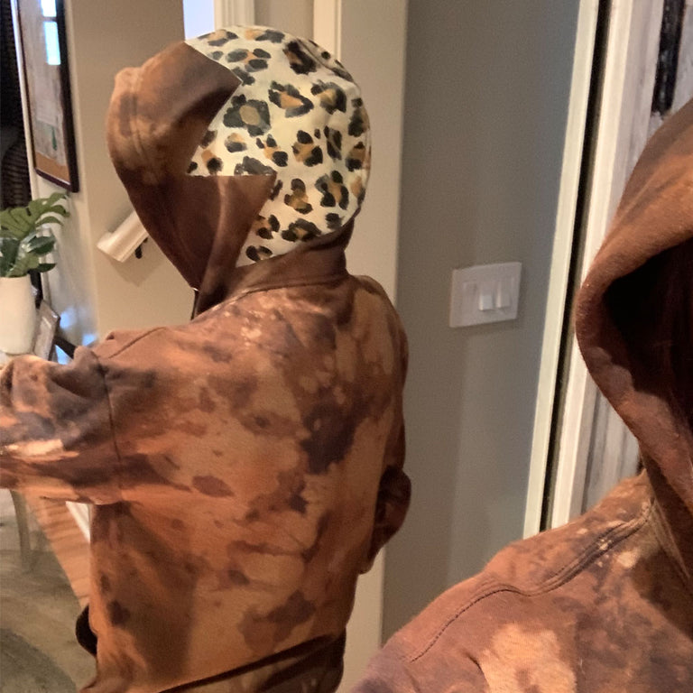 Oversized Hoodie Animal Print Tie Dye Star Brown