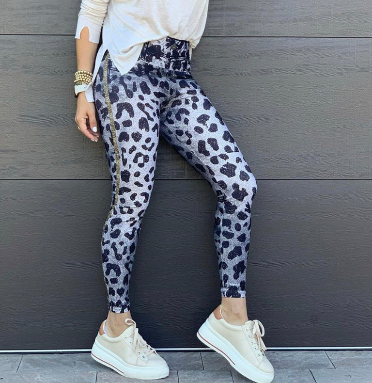Animal Print Jean Look Leggings-Sale