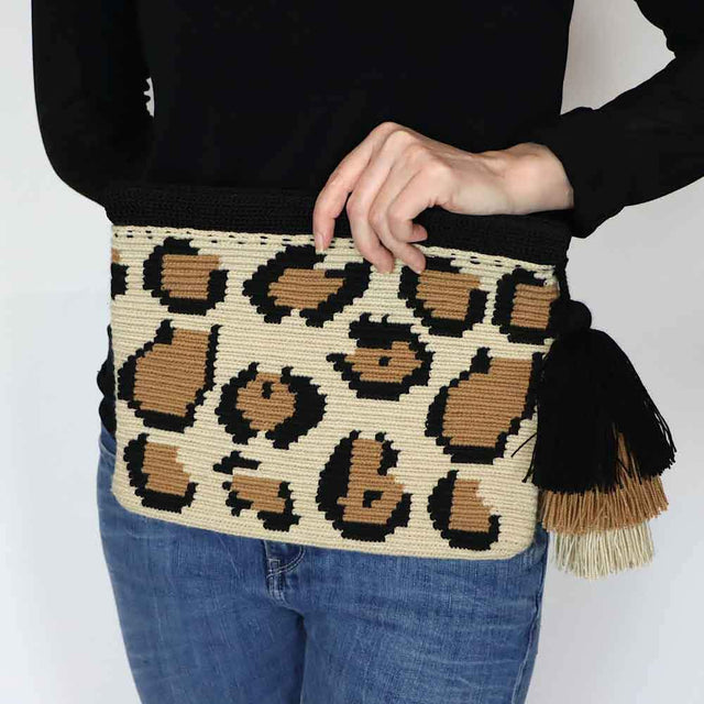 Leopard Print Clutch Bag Beige