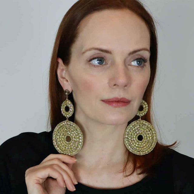 Round Long Crochet Earrings