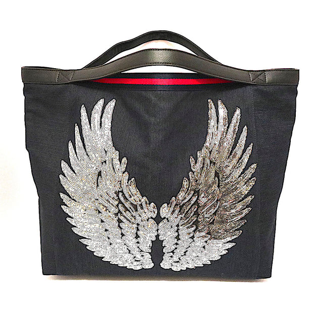 "TOTE Bag ""Angel Silver Wings"" Navy"