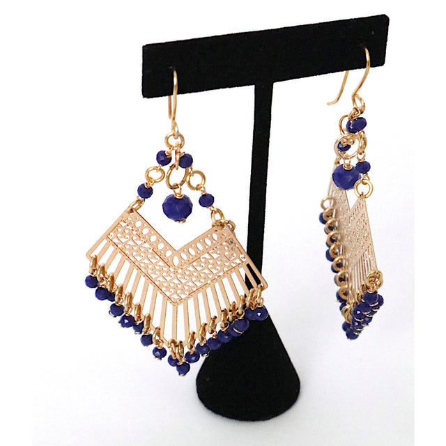 Gold Plated Navy Drop Earrings