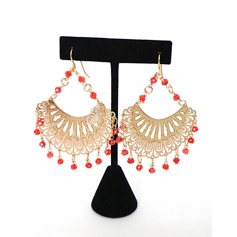 Gold Plated Orange Drop Earrings
