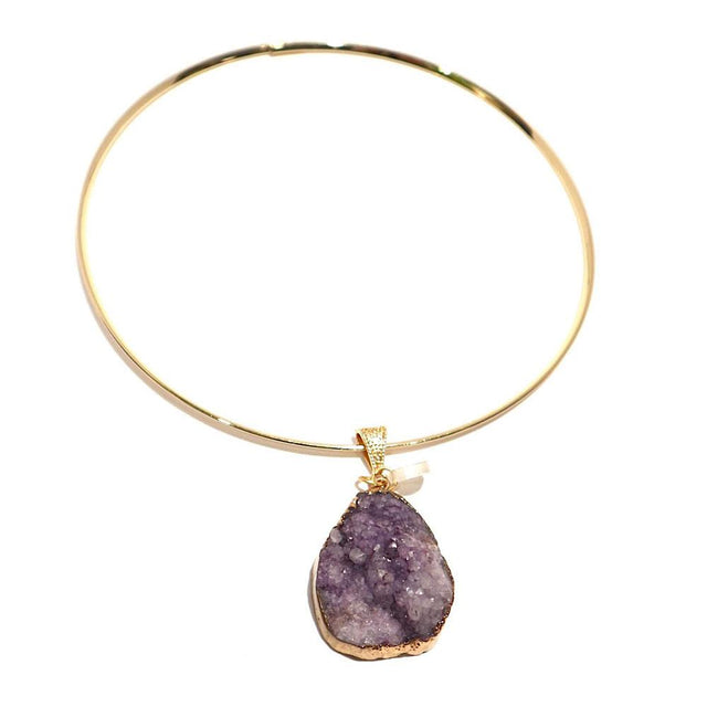 Gold Plated Chocker Necklace Purple Pendant