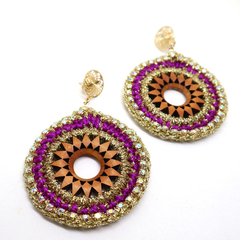 Round Crochet Purple Earrings