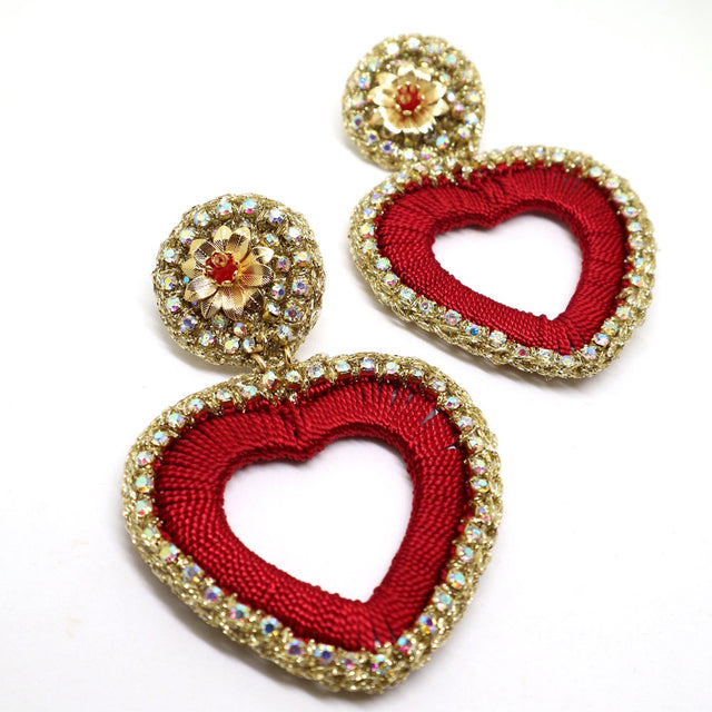 Red Heart Crochet Gold Earrings