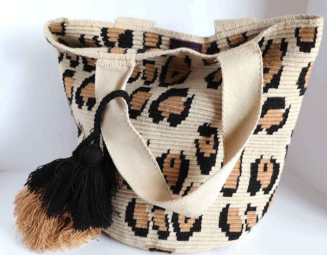 Woven Tote Bag Leopard Print