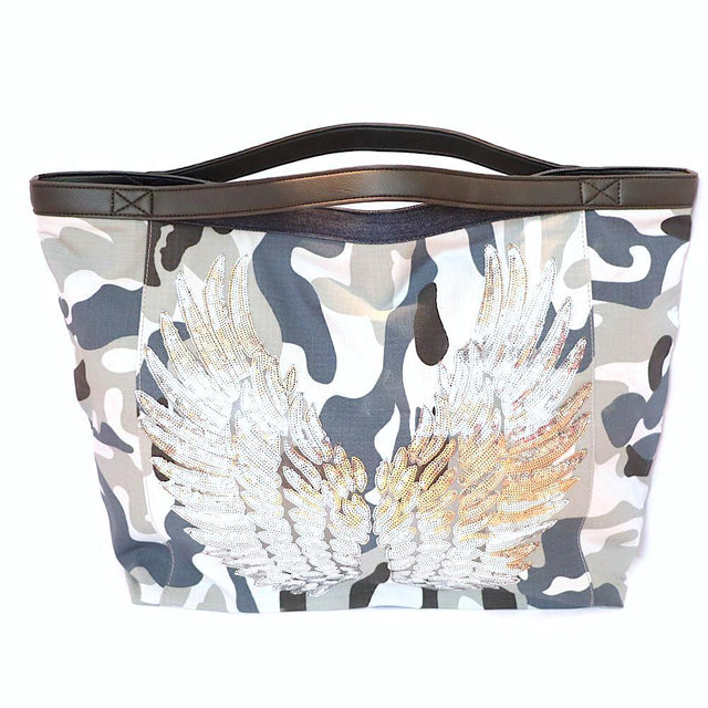 TOTE Bag Angel Silver Wings Camo Gray