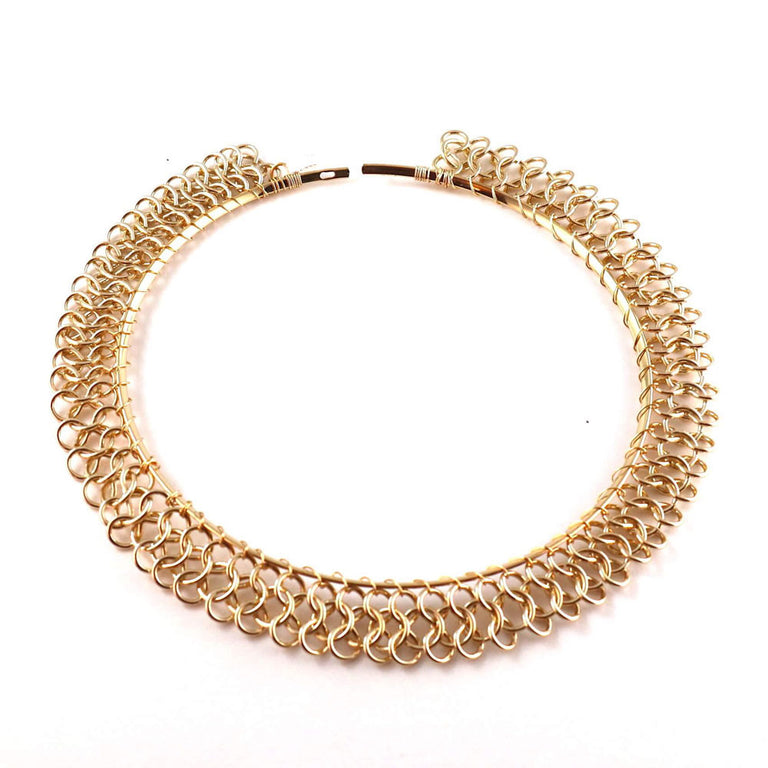Gold Plated Chocker Necklace Spiral