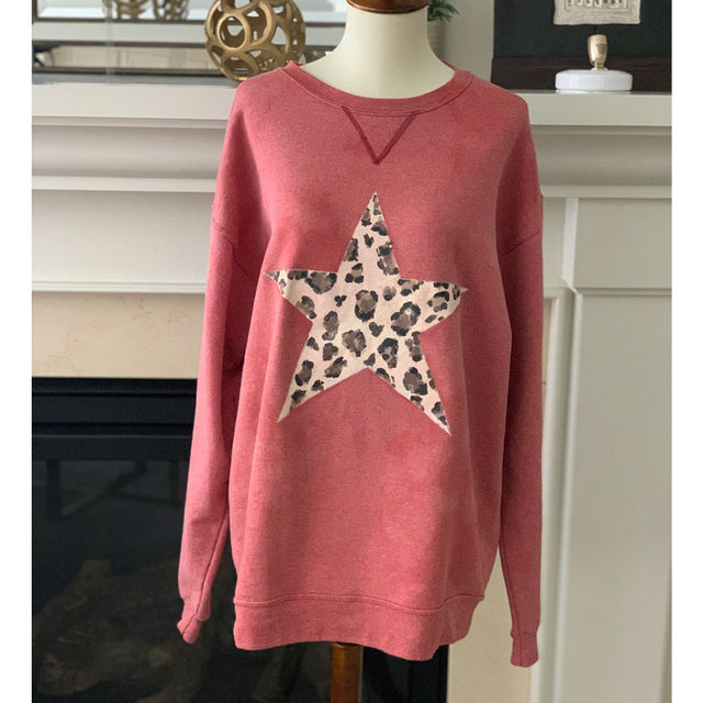 Oversized Sweater Animal Print Star Pink