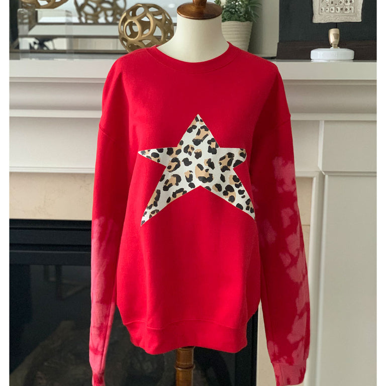 Oversized Sweater Animal Print Tie Dye Star Red