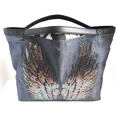 "TOTE Bag Denim ""Angel Tornasol Wings"" Camo"