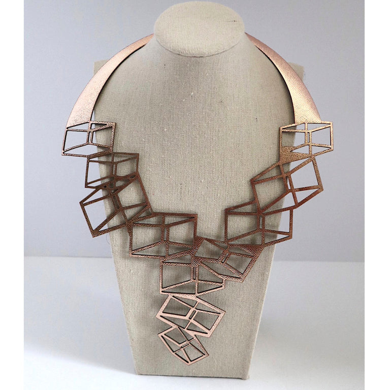 Leather Statement Adjustable Bronze Necklace