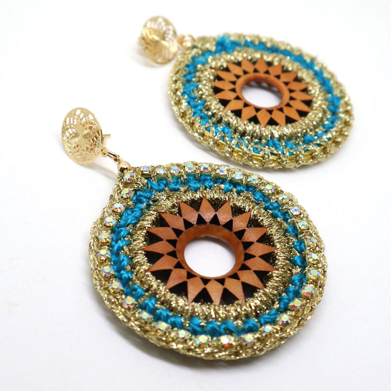 Round Crochet Turquoise Earrings