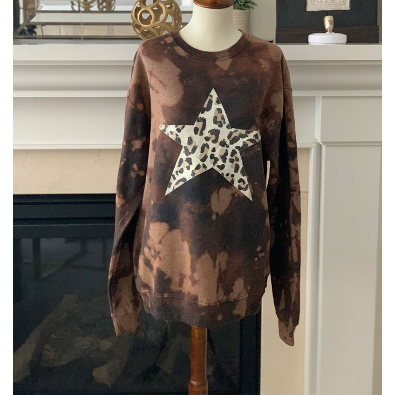 Oversized Sweater Animal Print Tie Dye Star Brown