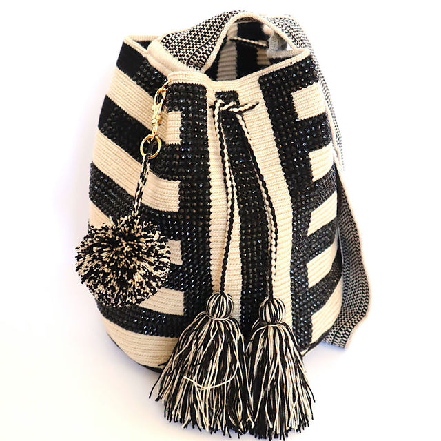 Wayuu Crossbody Black Crystal Stripes