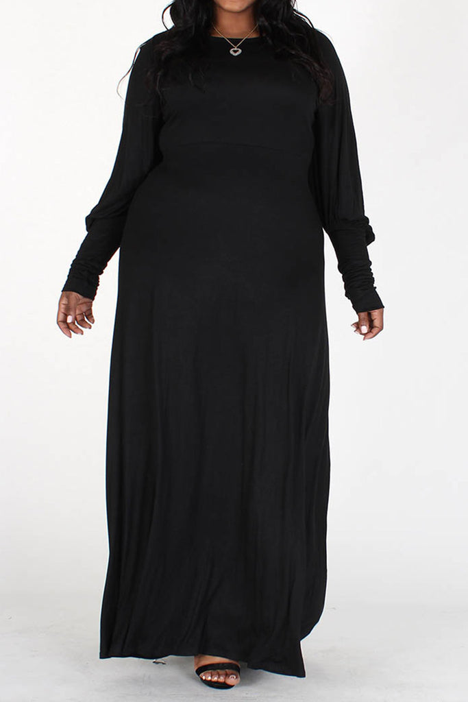 Aisha Long Bubble Sleeve Dress-Black