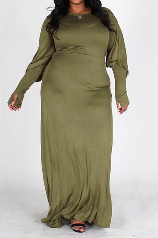 Aisha Long Bubble Sleeve Dress-Olive