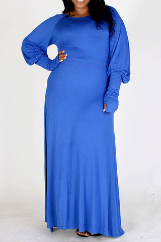 Aisha Long Bubble Sleeve Dress-Blue