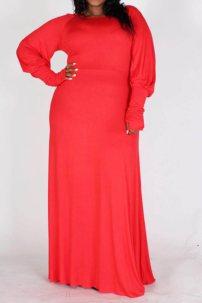 Aisha Long Bubble Sleeve Dress-Red