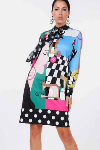 Bow Tie Face Checker Print Long Sleeve Dress