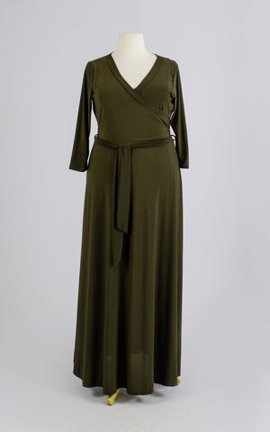 Army Green Maxi Dress Plus size Wrap