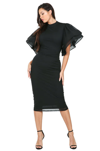 BLACK DRESS with wide ruffle layer sleeve fitted midi dress