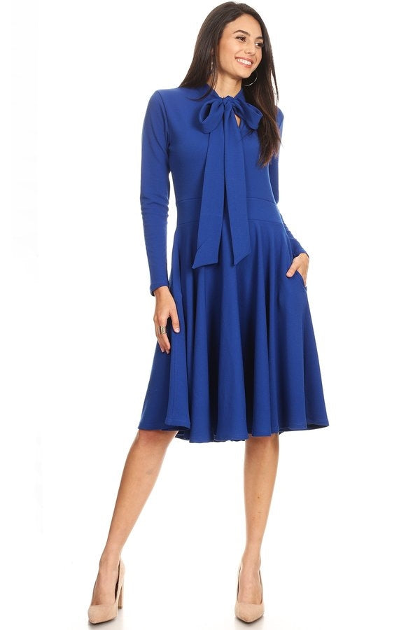Anna Dress w Bowtie- Blue