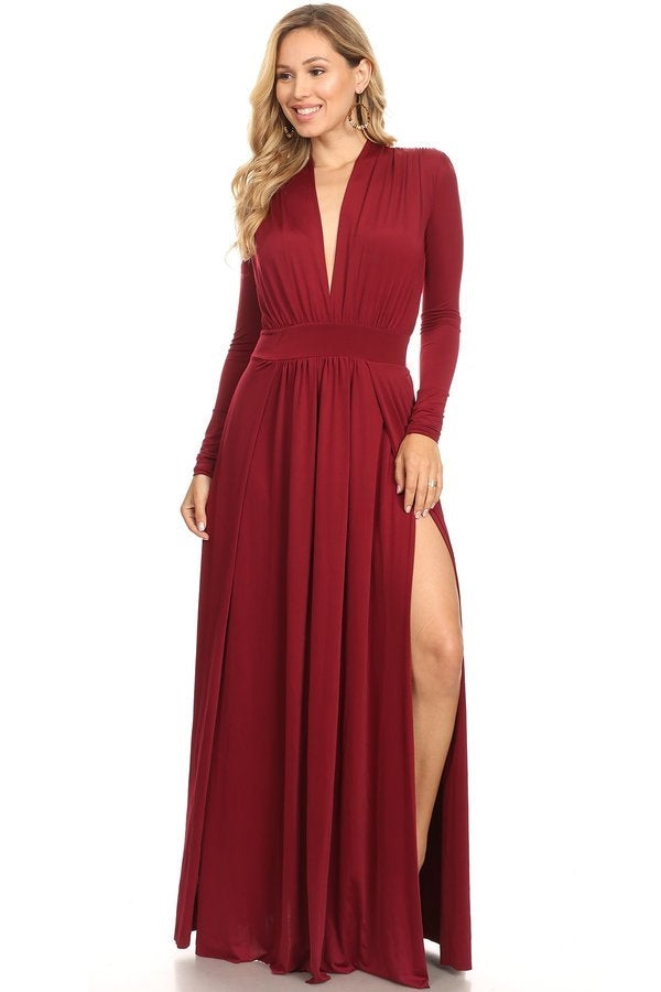 Burgundy V-Neck M Split Maxi Dress