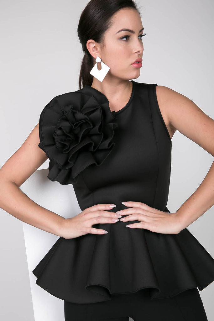 Black Peplum Top with The Big Flower, PLUS SIZE