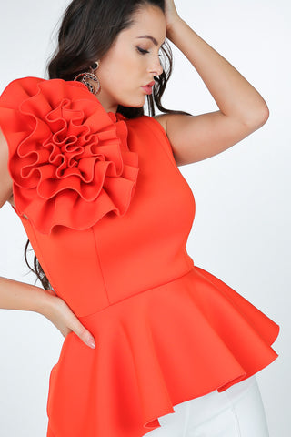 Red Peplum Top with The Big Flower, PLUS SIZE