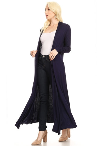 Black Duster, Solid Open Front w Long Sleeves