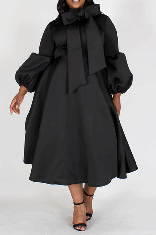 Black Midi Dress w Bowtie and Puff Sleeves, PLUS Sizes