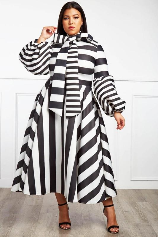 Black and White Stripe  Midi Dress w Bowtie and Puff Sleeves, PLUS Sizes